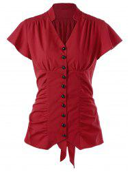 Ruched Button Up Tie Back Blouse - RED M