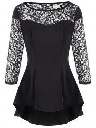 Lace Panel High Low Hem Peplum Blouse
