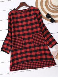 High Low Plaid Blouse with Pocekts