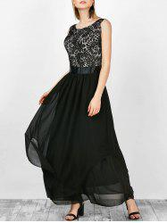 Formal Sleeveless Asymmetric Lace Maxi Prom Dresses -
