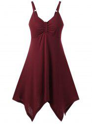 Spaghetti Strap Asymmetric Mini Empire Waist Cocktail Dress - DARK RED M