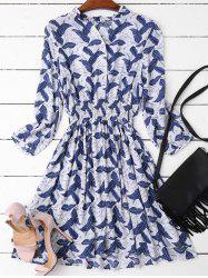 Leaves Print Mini Ruffled Dress