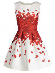 Petal Print Sleeveless Skater Dress - RED