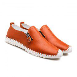 Zipper Stitching Casual Shoes - PEARL KUMQUAT