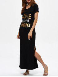 Maxi Love Always Hopes Graphic Slit Dress