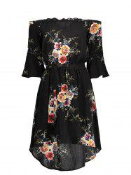 Off The Shoulder Floral Chiffon Dress - BLACK