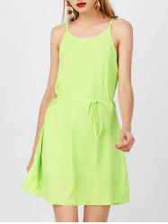 Belted Spaghetti Strap Chiffon Dress