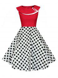 Polka Dot Swing Pin Up Dress - RED AND WHITE 2XL