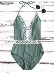 Crochet Panel Halter Backless One Piece Swimsuit - FRESH