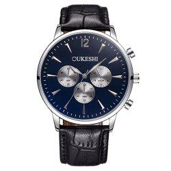 OUKESHI Faux Leather Strap Analog Qaurtz Watch