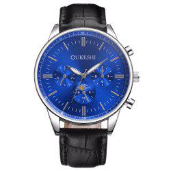 OUKESHI Faux Leather Strap Number Quartz Watch