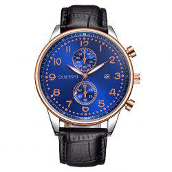 OUKESHI Faux Leather Strap Analog Date Watch