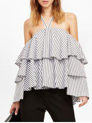 Striped Flounce Layer Halter Blouse -