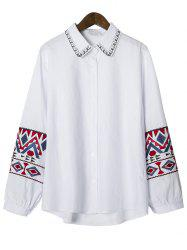 Geometric Embroidered Button Up Asymmetrical Shirt