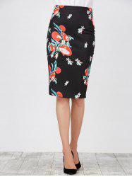 Floral High Waist Pencil Skirt