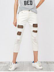 Mid Rise Distressed Fishnet Panel Jeans -