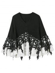 Crochet Lace Insert Flounce Layer Top