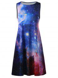 Plus Size Galaxy Sleeveless A Line Short Dress