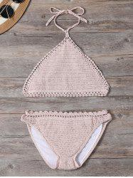 Scalloped Seamless Crochet Halter Bikini