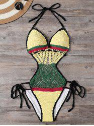 Color Block Crochet One Piece Swimsuit - YELLOW S