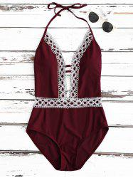 Crochet Panel Halter Backless One Piece Swimsuit - WINE RED