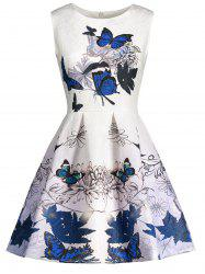 Sleeveless Butterfly Print Skater Dress - BLUE