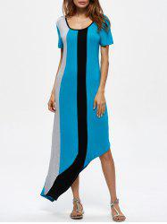 Short Sleeve Asymmetrical Contrast Panel Dress
