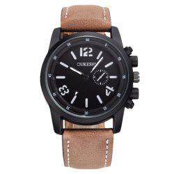 OUKESHI Faux Leather Strap Analog Quartz Watch