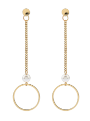 Faux Pearl Chain Circle Drop Earrings