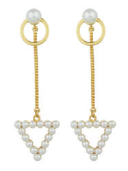 Faux Pearl Triangle Chain Circle Earrings