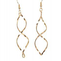 Metal Wave Embellished Earrings - GOLDEN