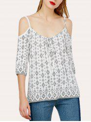 Spaghetti Strap Cold Shoulder Print Top