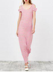 Cold Shoulder Striped Long Maxi Dress
