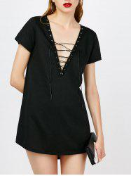 Lace Up Plunging Neck Mini Dress