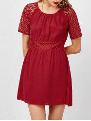 Openwork High Waist Chiffon Dress