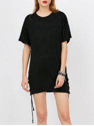 Mini Lace Up Shift T-Shirt Dress