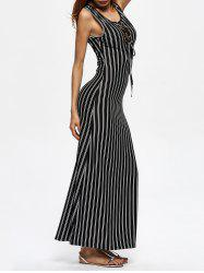 Striped Slit Grommet Lace Up Dress