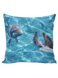 Smiling Dolphin Home Decor Linen Pillowcase - BLUE