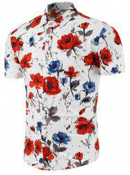 Multi Color Flower Print Short Sleeve Shirt