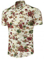 Slim Fit Floral Print Casual Shirt