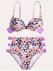 Cut Out Floral Printed Cami Bikini - COLORMIX L