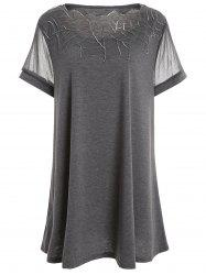 Plus Size Mesh Panel Tunic Top