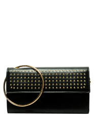 Rivet Metal Ring Clutch Bag with Chains