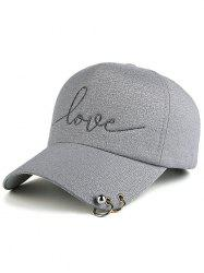 Letters Beads Metal Circle Embellished Baseball Hat