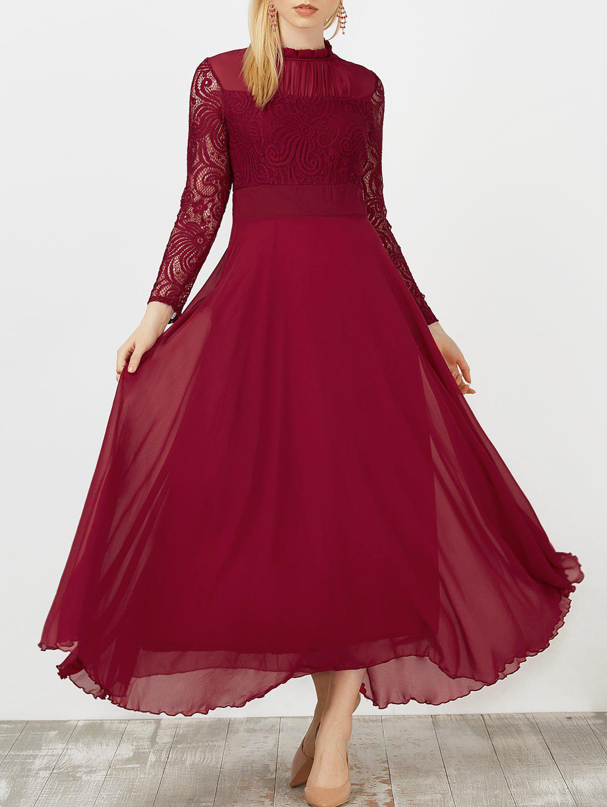Wine Red S Lace Panel Chiffon Swing Long Prom Dress | RoseGal.com
