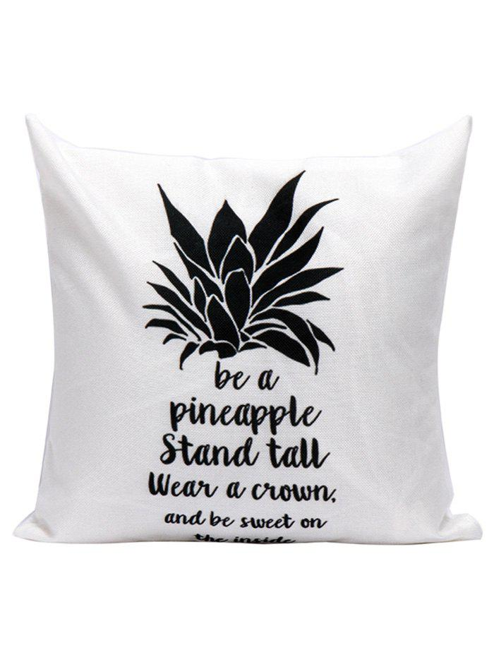 Pineapple Letter Linen Cushion Pillow CaseHOME<br><br>Size: 45*45CM; Color: WHITE; Material: Polyester / Cotton; Fabric Type: Linen; Pattern: Letter; Style: Modern/Contemporary; Shape: Square; Weight: 0.1000kg; Package Contents: 1 x Pillow Case;