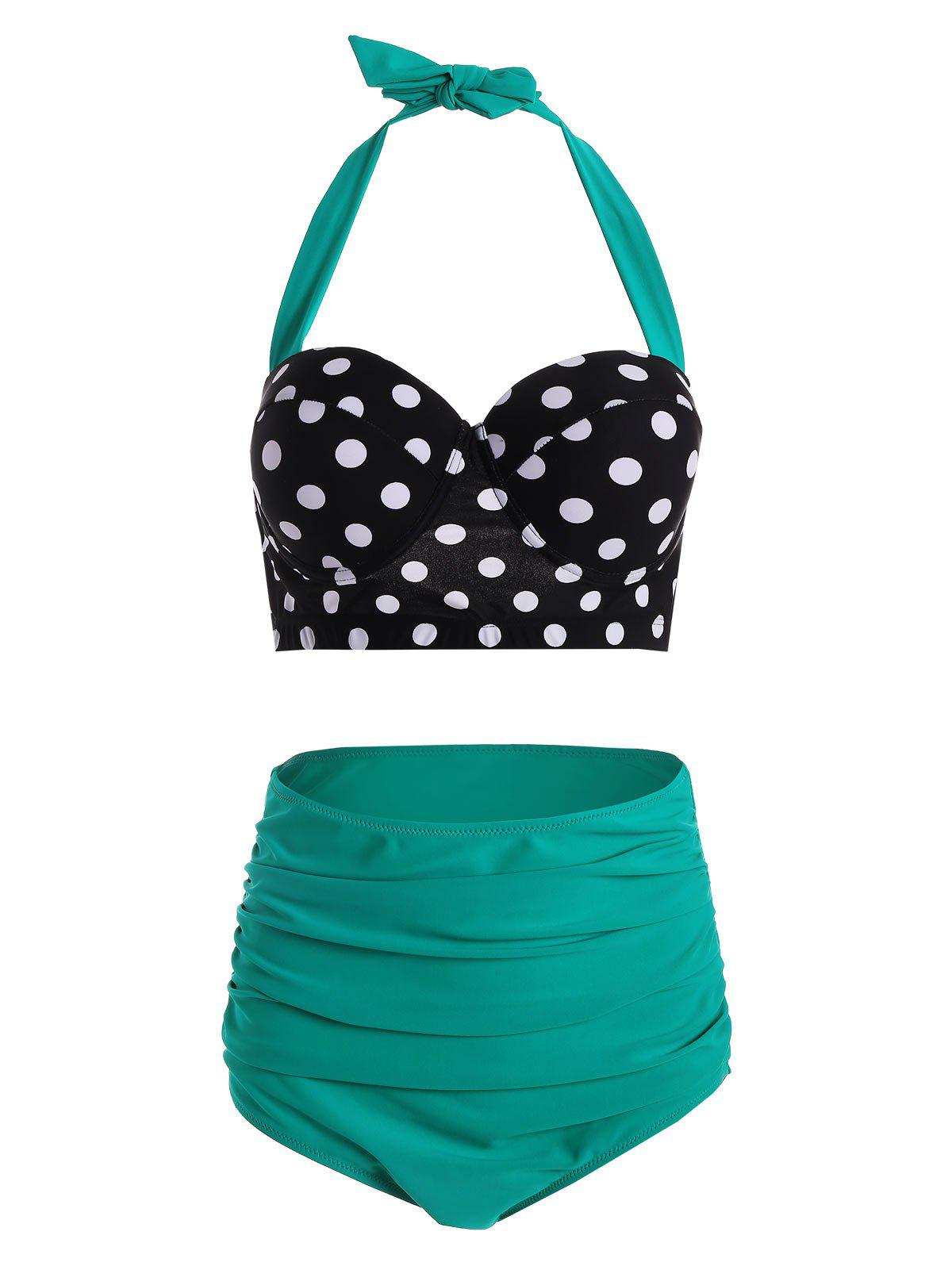 Cheap Plus Size Polka Dot High Waisted 50s Bikini