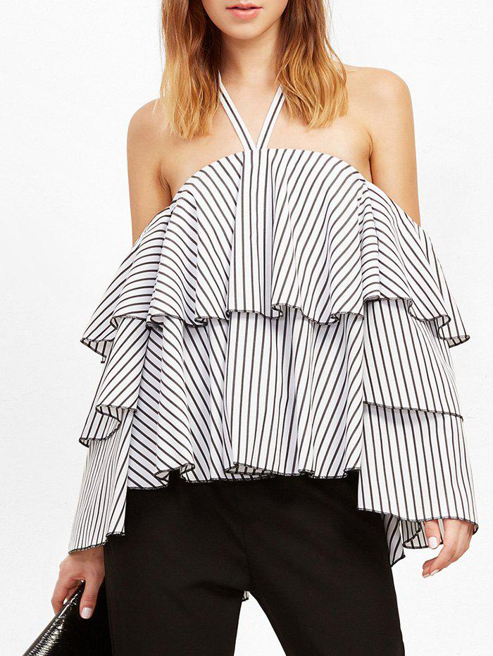 Trendy Striped Flounce Layer Halter Blouse