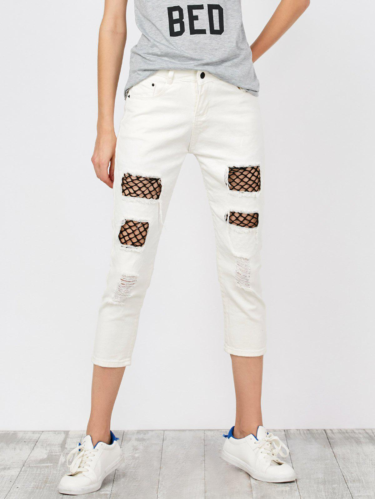Store Mid Rise Distressed Fishnet Panel Jeans