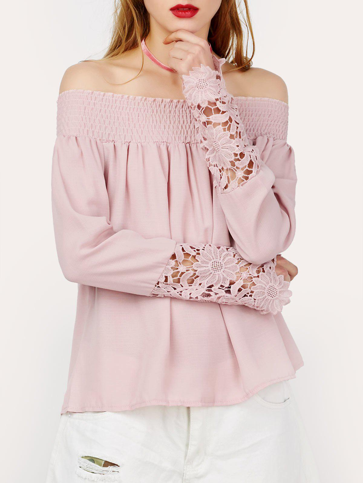 Buy Lace Panel Off The Shoulder Top